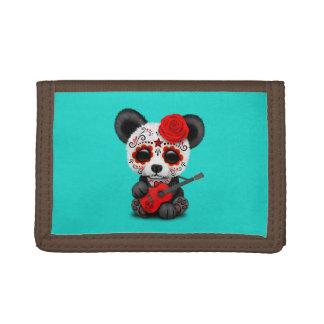Cartera De 3 Hojas Panda roja del cráneo del azúcar que toca la