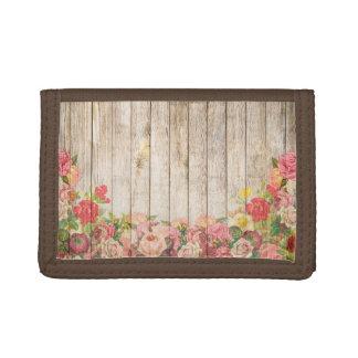 Cartera De 3 Hojas Rosas románticos rústicos del vintage de madera
