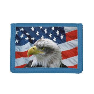 Cartera de la bandera americana de Eagle calvo