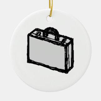 Cartera de la oficina o maleta de los viajeros. adorno navideño redondo de cerámica