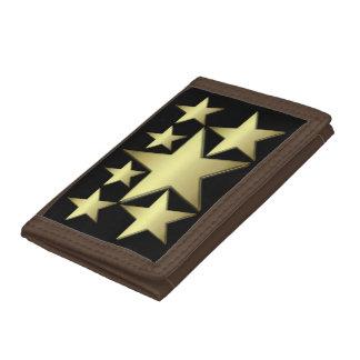 Cartera de nylon triple de la estrella del oro
