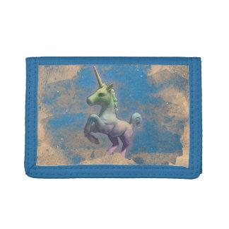 Cartera de nylon triple del unicornio (azul de