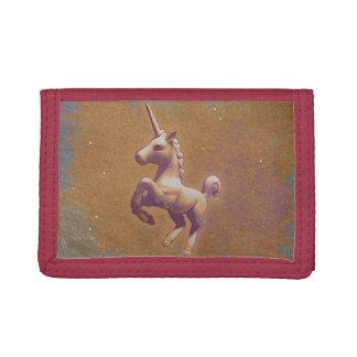 Cartera de nylon triple del unicornio (lavanda del