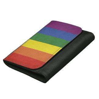 Cartera De Piel Para Mujer Rayas del arco iris