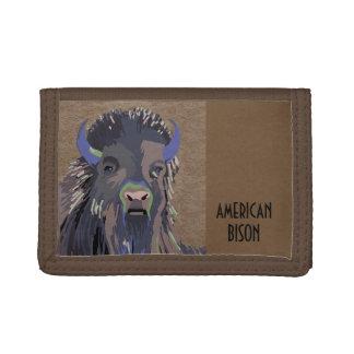 Cartera de tres pliegues del búfalo del bisonte