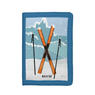 Carteras de encargo del monograma del esquí del