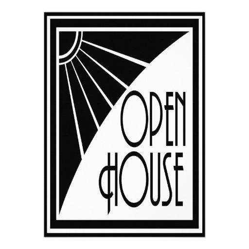 Casa abierta blanco y negro elegante del art d co for Corredor deco blanco y negro