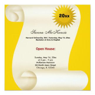 Casa abierta de la graduación (amarillo) invitación 13,3 cm x 13,3cm