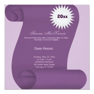 Casa abierta de la graduación (púrpura) invitación 13,3 cm x 13,3cm