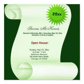 Casa abierta de la graduación (verde) invitación 13,3 cm x 13,3cm