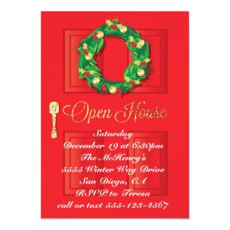 Casa abierta de la puerta del día de fiesta rojo invitación 12,7 x 17,8 cm