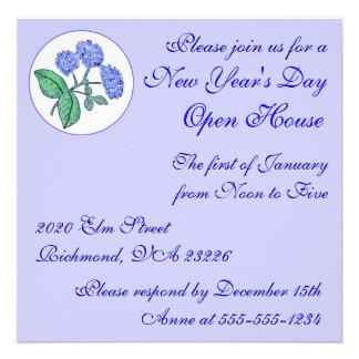 Casa abierta del día de Año Nuevo del Hydrangea Anuncio Personalizado