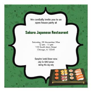 Casa abierta del sushi comunicado personalizado
