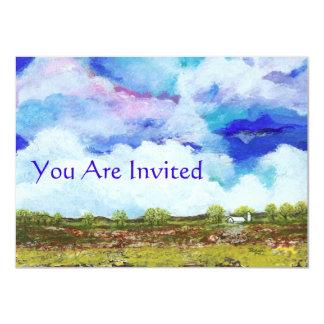 Casa abstracta gloriosa del granero de la granja invitación 11,4 x 15,8 cm