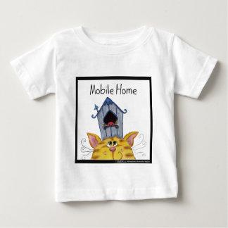 """Casa """"caravana """" del gato y del pájaro camiseta para bebé"""