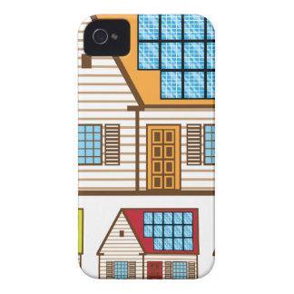 Casa con los paneles solares iPhone 4 protectores