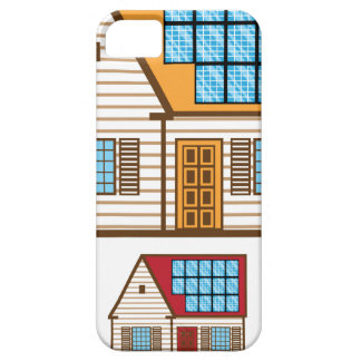 Casa con los paneles solares iPhone 5 Case-Mate coberturas