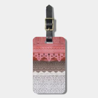 Casa coralina rosada etiqueta para maletas