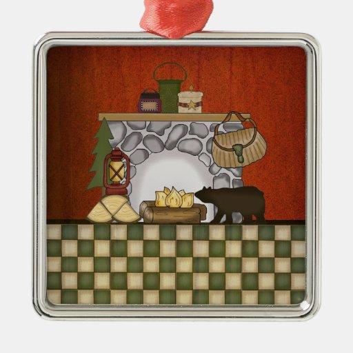 Casa de campo r stica navidad de la cabina del pa adorno for Piani di casa cabina rustica