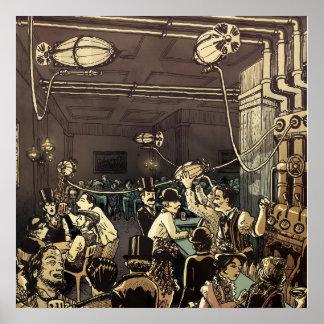 Casa de la cerveza inglesa de la ciudad del vapor póster