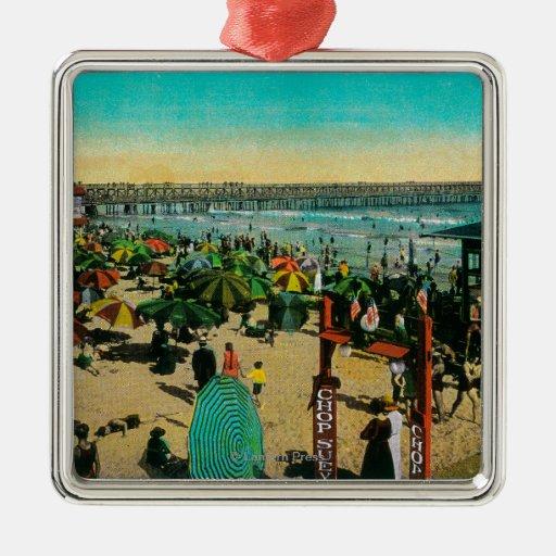 Casa de la playa y del baño, playa larga de BeachL Ornamentos Para Reyes Magos
