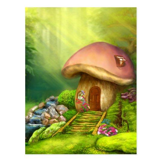 Casa de la seta de la fantasía postal
