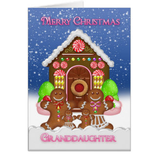 Casa de pan de jengibre de la nieta y familia tarjeta de felicitación