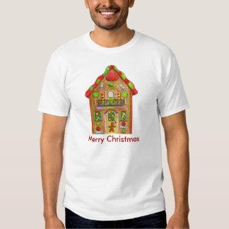 Casa de pan de jengibre del caramelo del navidad camisas