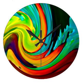 Casa de playa abstracta de la onda que se estrella reloj redondo grande