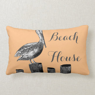Casa de playa del ejemplo del pelícano cojín