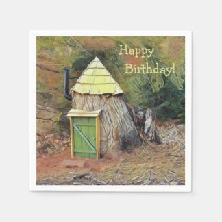 Casa del duende del feliz cumpleaños servilletas de papel