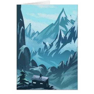 Casa del invierno en tarjeta de felicitaciones de