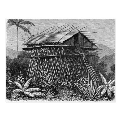 Casa en el pueblo de Arfak de Memiwa, Nueva Guinea Tarjetas Postales