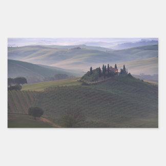 Casa en Toscana en el pegatina del rectángulo de
