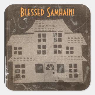 Casa encantada antigua Samhain Pegatina Cuadrada