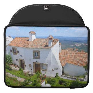 Casa mediterránea de la acuarela fundas para macbooks