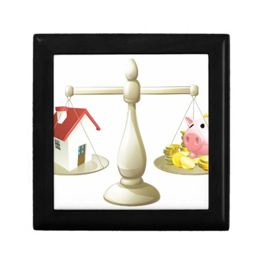 Casa o concepto de la escala de los ahorros caja de joyas