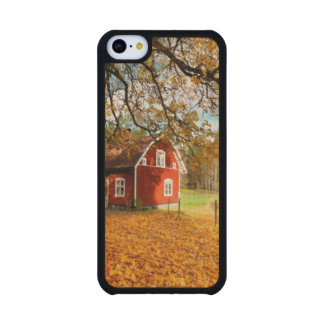 Casa sueca roja entre las hojas de otoño funda de iPhone 5C slim arce