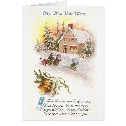 Casa ventosa del Año Nuevo y de la piedra con Bell Tarjeta