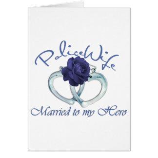 Casado con mi héroe tarjeta de felicitación