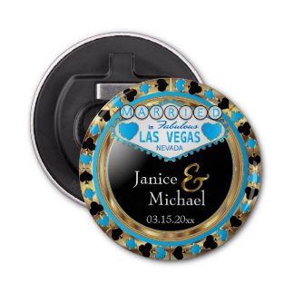 Casado en el estilo de Las Vegas - azul cielo Abrebotellas Redondo
