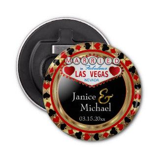 Casado en el estilo de Las Vegas - rojo Abrebotellas Redondo