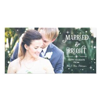 Casado y brillante, tarjeta de la foto del tarjetas con fotos personalizadas