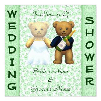 Casando el peluche verde de la ducha los osos invitación 13,3 cm x 13,3cm