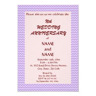 Casando el zigzag Aniversario-Violeta, pique el Invitación 8,9 X 12,7 Cm