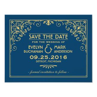 Casando reserva el estilo del art déco de las invitación 10,8 x 13,9 cm