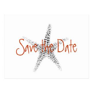 Casando reserva la fecha con las estrellas de mar postal