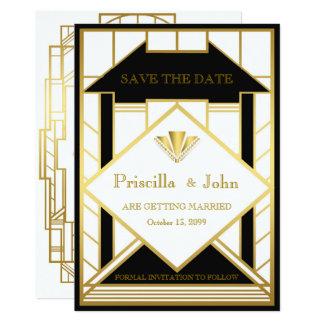 Casando reserva la fecha, gran Gatsby, medallón Invitación 12,7 X 17,8 Cm