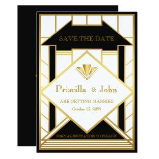 Casando reserva la fecha, gran Gatsby, oro del Invitación 12,7 X 17,8 Cm