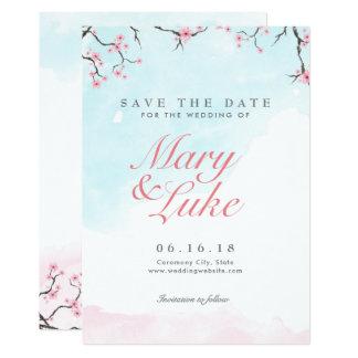 Casando reserva las flores de cerezo de la invitación 12,7 x 17,8 cm